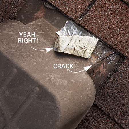 <b>Photo 1: Roof vent problem</b></br> Plastic roof vents can crack and leak. Duct tape is <em>not</em> the solution this time!