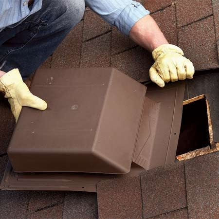<b>Photo 2: Roof vent solution</b></br> Replace the old vent. If you're careful, you won't have to remove any shingles to slip out the old one and slide the new one into place.