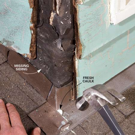 <b>Photo 2: Wall/dormer solutions</b></br> Recaulk the corner flashing. Lift the overlapping section, clean it thoroughly and add a generous bead of fresh caulk underneath. Make sure the gap at the corner is filled with caulk.