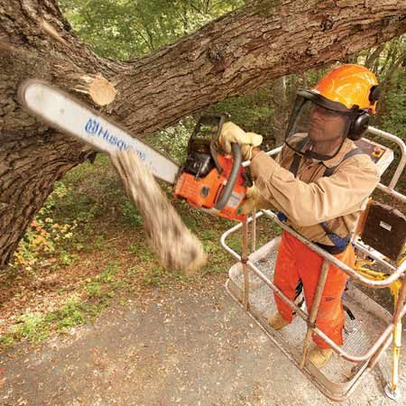 <b>Boom lift in action</b></br> A boom lift  allows you to work on high projects faster. And it's safer than a ladder.