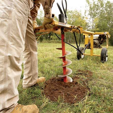 <b>Power posthole digger</b></br> A one-person trailer-mounted digger is an easy way to drill holes for a person working solo.