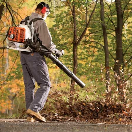 <b>Backpack blower in action</b></br> A gas-powered rental blower will have at least 5 times the power of a typical electric blower.