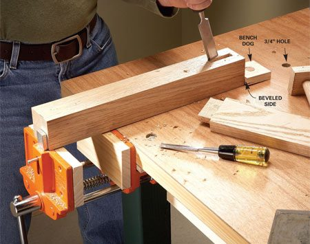 <b>Shopmade bench dogs</b></br> A vise paired with bench dogs works great to hold large projects.