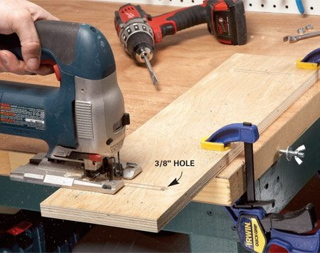 <b>Cut the slots</b></br> Cut slots in a piece of 3/4-in. plywood and attach it to your bench with bolts and wing nuts. Drill 3/8-in. starter holes. Then cut the slots with a jigsaw.