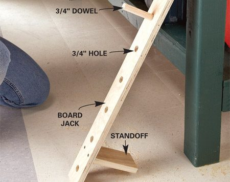 <b>Install the beveled strip and install the board jack</b></br> Mount a board jack to the front of your workbench and use it with your vise to support your work. Screw a beveled strip to the front of your workbench. Then build the board jack and hook it over the top to support your work.