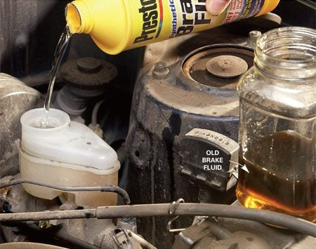 <b>Replace brake fluid</b></br> Suck the fluid from the reservoir and refill with fresh fluid.
