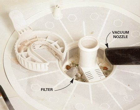 <b>Photo 2: Clean the filter</b></br> Clean the filter. Remove the filter screen if possible. Otherwise, use a wet/dry vacuum to suck out the debris.