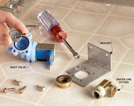 <b>Photo 5: Clean the filter screen</b></br> Check to see if the screen is plugged. Unscrew the water line fitting from the valve. Then unscrew the four screws that connect the valve to the bracket.