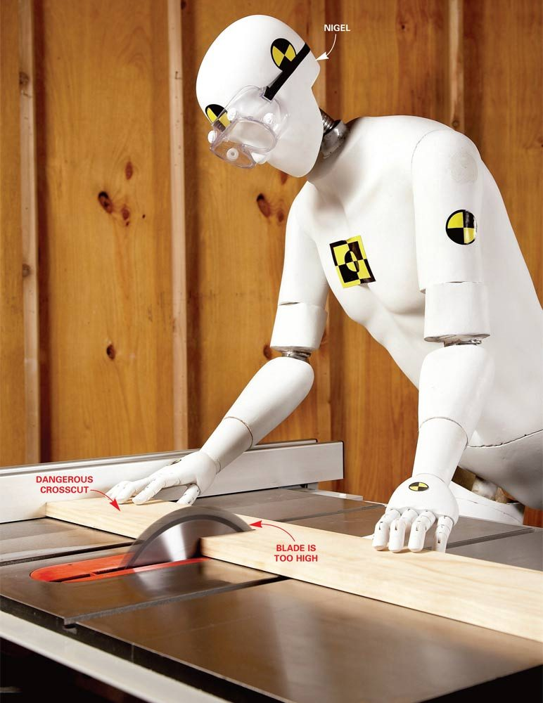 Nigel the dummy on the table saw