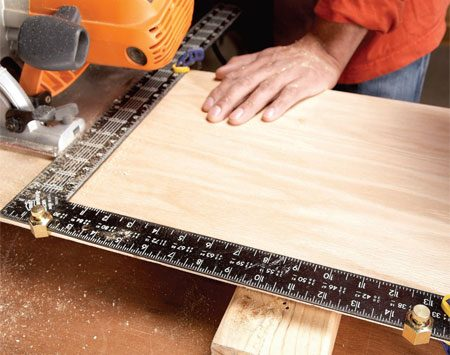 <b>Stair gauge/framing square cutting guide</b><br/>Screw the stair gauges to your framing square and hold it against your board to make right angle cuts.