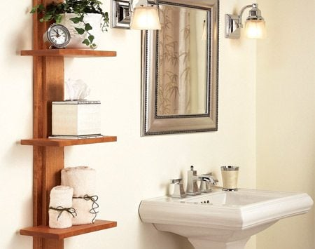 <b>Bathroom shelving unit </b></br> Store bathroom necessities or décor item on these attractive shelves.