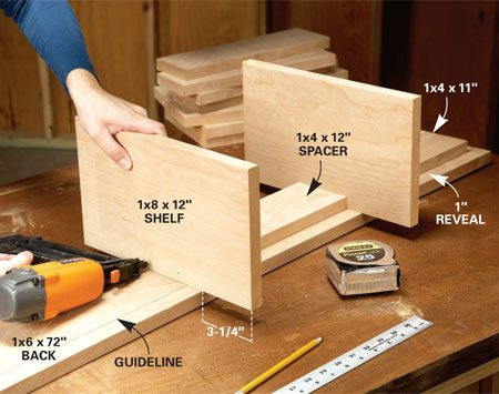 <b>Photo 1: Nail the spacers</b></br> Nail the spacers and shelves in place, starting at the bottom and working your way up. Place the bottom spacer 1 in. from the lower edge of the backboard.