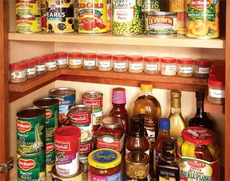 <b>Spice shelf inside cabinet</b></br> A clever space saver!