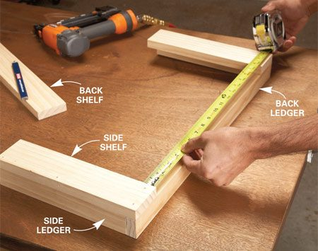 <b>Photo 1: Nail the ledgers together</b></br> Nail the back and side ledgers together, then nail on the side shelves. Measure between the side shelves and cut the back shelf to fit.