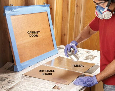 <b>Photo 2: Spray adhesive on the board and door</b></br> Spray adhesive onto the door, metal and dry-erase board. Carefully position the metal and board as you stick them to the door—once they're in place, you can't move them.