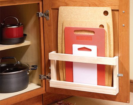 <b>Cutting board rack</b></br> This rack makes finding and storing cutting boards easy.