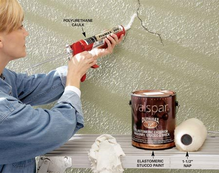 <b>Caulk stucco cracks</b><br/>Caulk cracks and apply an elastomeric paint to maintain old stucco.