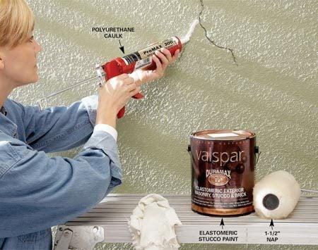 <b>Caulk stucco cracks</b></br> Caulk cracks and apply an elastomeric paint to maintain old stucco.