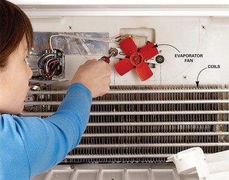 <b>Photo 3:  Remove evaporator fan</b></br> Replace the evaporator fan if it's noisy or doesn't spin. First unplug the refrigerator. Then remove the screws that hold the fan to the wall of the freezer.