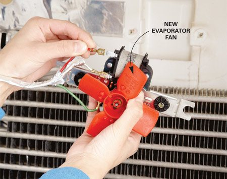 <b>Photo 4: Replace the fan</b><br/>Replace the old fan with a new one. Remove the mounting bracket from the old fan and attach it to the new fan. Unplug the wires and switch them from the old fan to the new fan. Reinstall the fan and replace the cover.