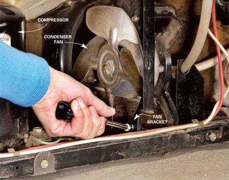 <b>Photo 5: Replace condenser fan</b><br/>Replace the condenser fan if it's noisy or doesn't run. Depending on your fridge, you may have to remove the fan bracket first, and then unscrew the fan from the bracket.