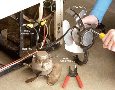 <b>Photo 6: Install the new fan</b></br> Cut the wires close to the old fan. Strip the wires and connect the new fan with wire connectors. Screw the new fan to the bracket and reinstall the fan and bracket in the fridge.