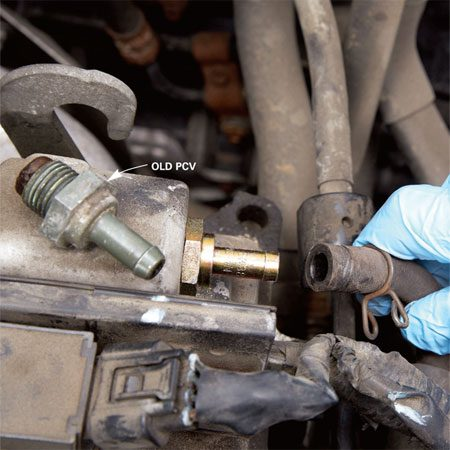 <b>PCV valve replacement</b></br> Pull off the hose and remove the old valve. If it's bad, screw in a replacement and replace the hose.