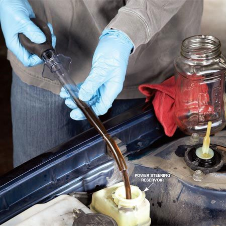 <b>Siphon out old fluid</b></br> Siphon the old fluid from the reservoir and refill with new fluid.