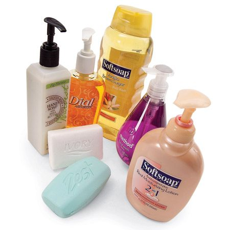 <b>Synthetic soaps</b></br> Liquid and gel soaps are synthetic and don't leave scum behind. A few bar soaps are synthetic as well.