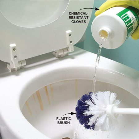<b>Acid cleaners dissolve rust</b></br> Remove rust stains on porcelain by applying an acid cleaner and gently scrubbing.