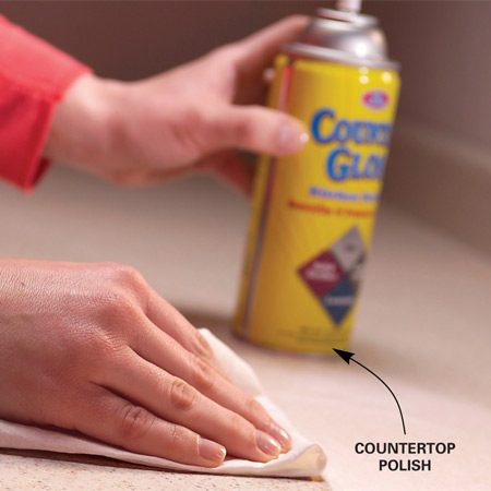 <b>Apply countertop polish</b></br> Apply countertop polish to older, worn laminate countertops to help prevent stains.