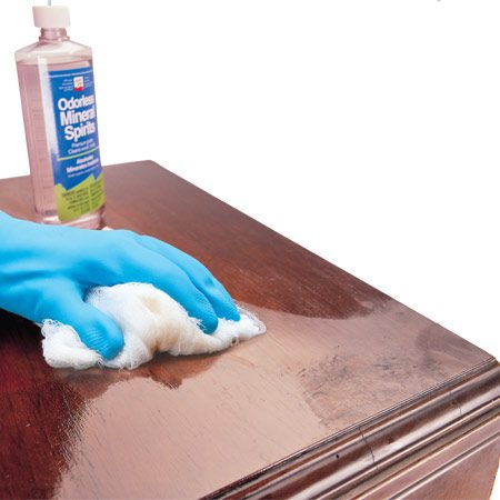 <b>Renew a dull finish</b></br> Clean dull wood finishes with mineral spirits to bring out the shine.