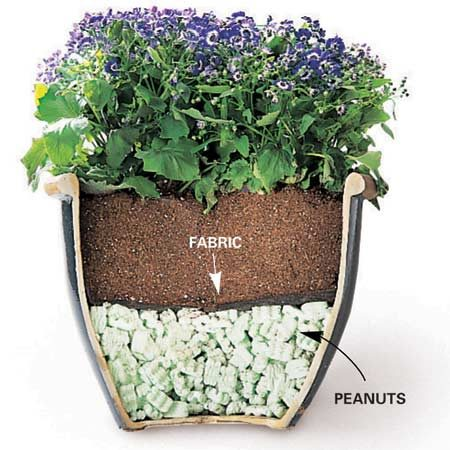 <b>Foam peanuts</b></br> A foundation of foam peanuts makes pots easier to move and improves drainage.