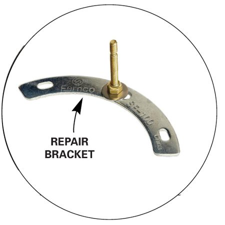 <b>Repair bracket</b></br> If only the bolt slot of the cast iron flange is damaged, slip a repair bracket under the flange.