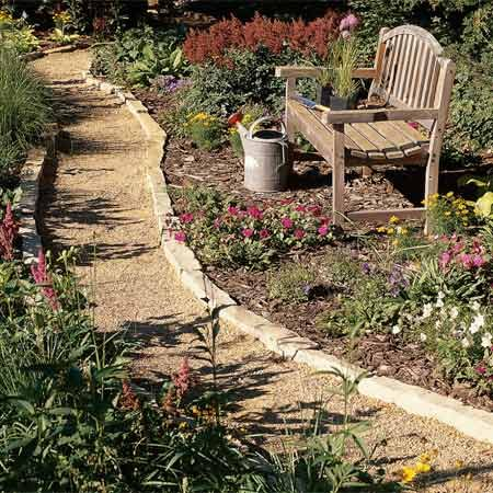 <b>Informal path</b></br> This winding gravel path reflects the informality and ease of maintenance of the garden.