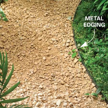 <b>Metal edging</b></br> Metal edging keeps gravel or mulch from overflowing into the yard or garden.