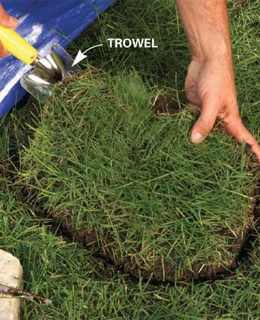 <b>Remove the sod</b></br> Pry up the sod, then set the stone. Use sand to level it, if necessary.