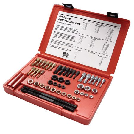 <b>Photo 2: Rethreading kit</b></br> Rethreading kits are available at auto parts stores and online.  Buy a full set for both metric and SAE nuts and bolts.