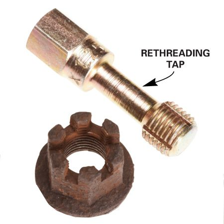 <b>Photo 3: Tap</b></br> Use a rethreading tap on nuts and threaded holes.