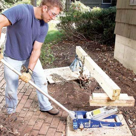 <b>Jack and lever assembly</b></br> Apply tons of pulling force to shrub roots using a jack. Place plywood scraps under the jack and jack stand so they don't sink into the ground.