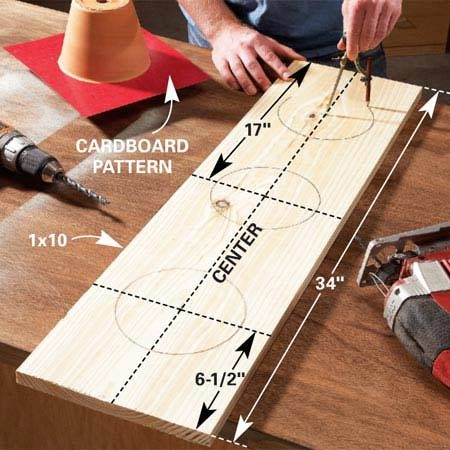 <b>Photo 1: Holes for pots</b></br> Mark the 6-in.-diameter holes with a compass. Then drill 1/2-in. starter holes and cut out the openings with a jigsaw.