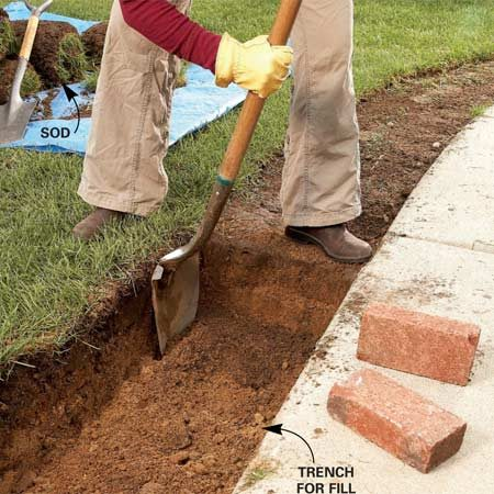 <b>Photo 1: Create a trench</b></br> Dig a trench to provide space for the compacted fill. The fill provides a stable base to keep the brick border from shifting.