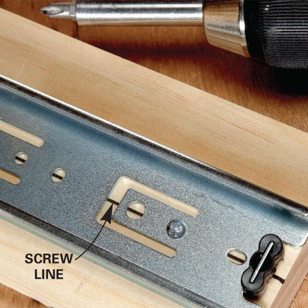 <b>Close up of screw lines.</b></br> Predrill screw holes on the screw line.
