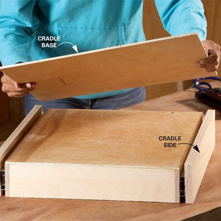 <b>Photo 4: Build the cradle</b></br> Add the cradle base to create a self-contained drawer unit. Fasten the base with screws only; glue could drip down and gum up the slides.