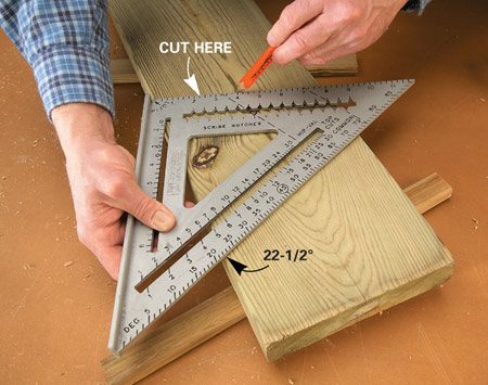 <b>Photo 1: Cut the angles</b></br> Starting at one end of a 10-ft. board, make the same 22-1/2-degree cut five times to create the four legs.