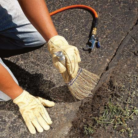 <b>Photo 1: Clean out cracks</b></br> Clean out cracks, digging deep enough to completely remove roots. Clean the edges of the asphalt with a hand broom and blasts of air or water.