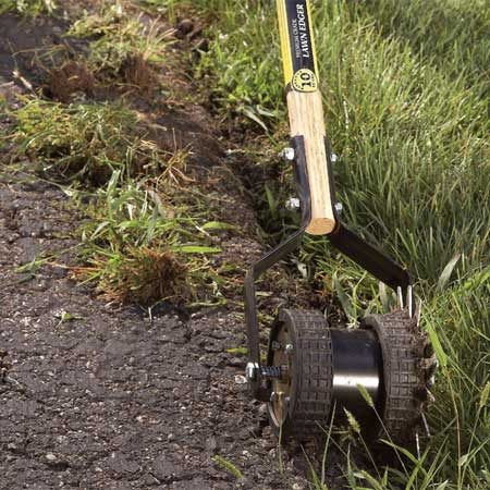 <b>Photo 6: Remove invading grass</b></br> Cut back invading grass along the driveway. Left alone, grass roots will enlarge any cracks and gradually destroy the driveway from the edges inward.