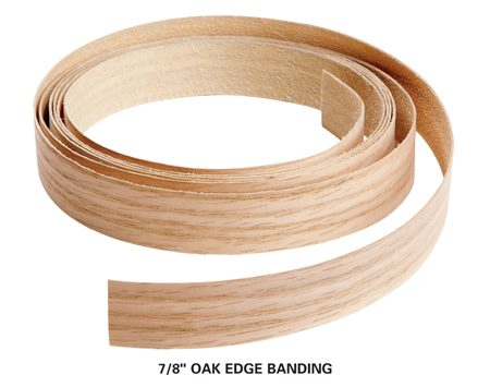 <b>Edge banding veneer</b></br> Edge banding is a strip of wood veneer with heat sensitive adhesive on one side.