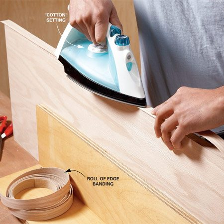 <b>Heat with an iron</b></br> Iron down the edge banding to bond it to the plywood edge.