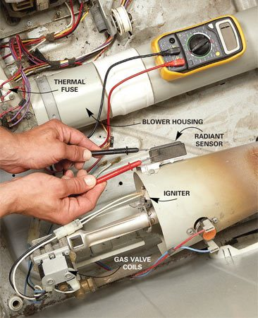 <b>Photo 1: Check continuity</b></br> On a gas dryer, test the radiant sensor, igniter and thermal fuse by disconnecting the wires and checking for continuity. Replace them if they fail the continuity test.